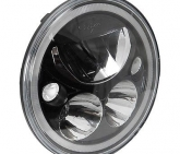 Custom Vision X 7in. Single Round Black Chrome Vortex LED Headlight With Halo- XMC-7RDB