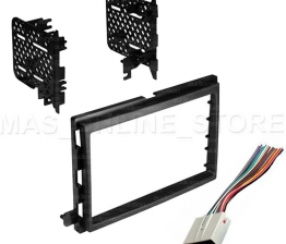Custom DOUBLE DIN STEREO INSTALL DASH KIT W/ WIRE HARNESS FOR FORD LINCOLN MERCURY CARS